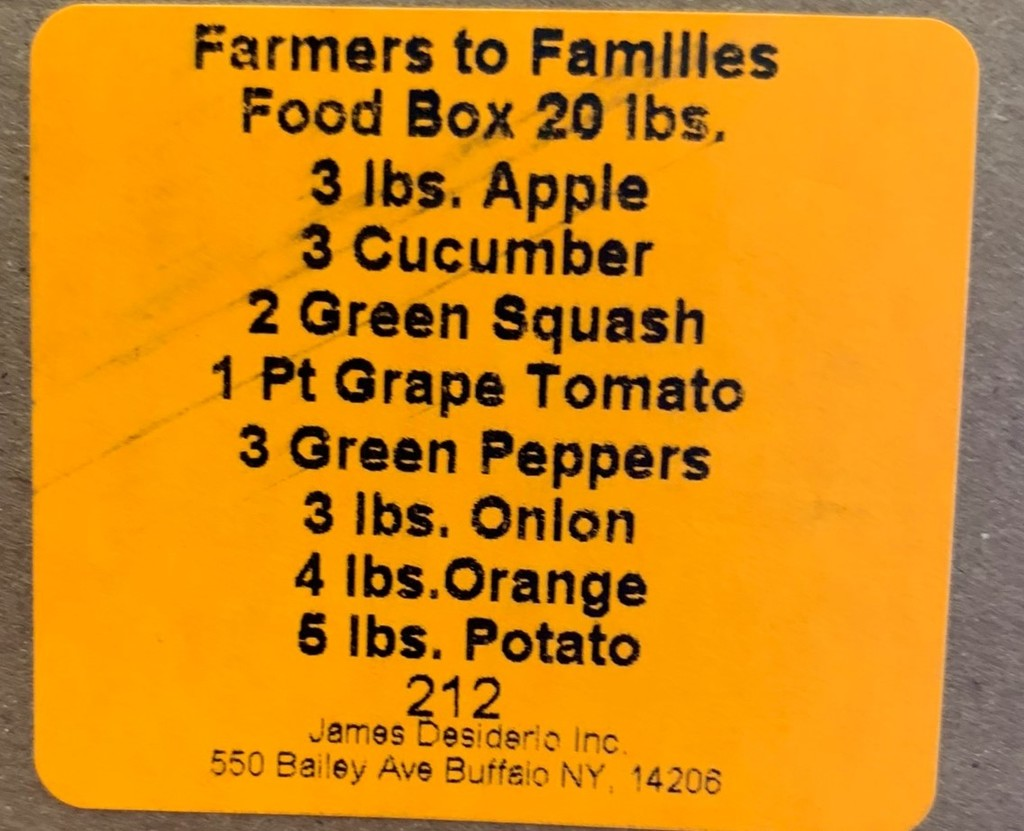 Contents of Farm Fresh Food Boxes